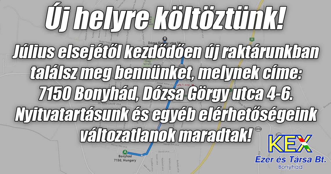 Új címünk: 7150 Bonyhád, Dózsa György utca 4-6.